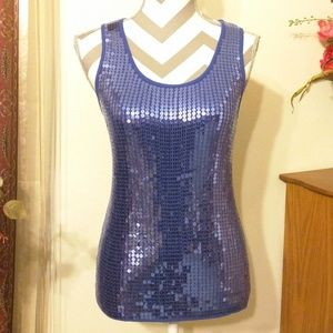 Questions Sequined Blue Tank Top